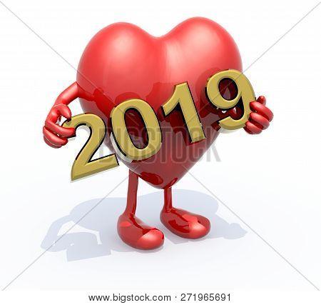Cartoon Heart With Arms, Legs And The 3d Inscription 2019, 3d Illustration
