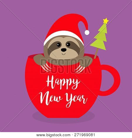 6eb11c46037ae Sloth sitting in red coffee cup teacup. Santa hat. Fir tree. Face and  hands. Cute cartoon baby character. Merry Christmas. Hello winter.