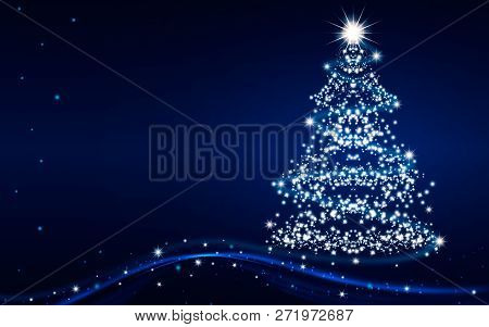 The Magic Christmas Tree. Merry Christmas And Happy New Year Greeting Card With Copy-space. Blue Chr
