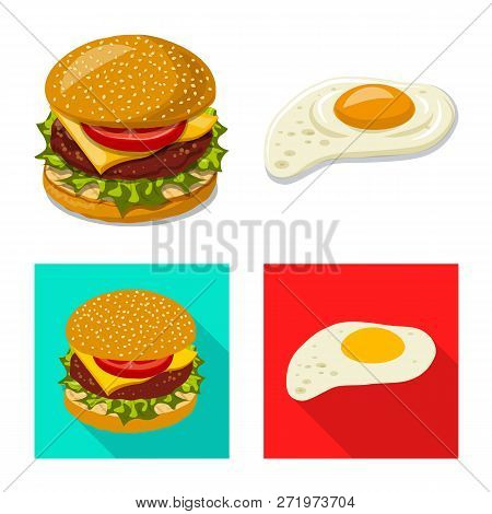Vector Illustration Of Burger And Sandwich Sign. Set Of Burger And Slice Stock Vector Illustration.