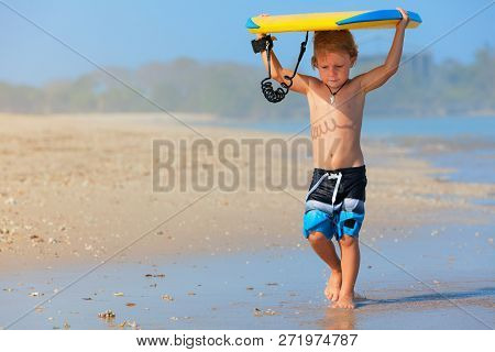 Baby Boy - Little Surfer Run With Bodyboard To Sea For Riding On Waves. Active Family Lifestyle, Kid