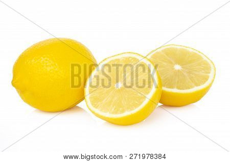 Closeup Fresh Lemon Fruit Slice On White Background, Food And Healthy Concept