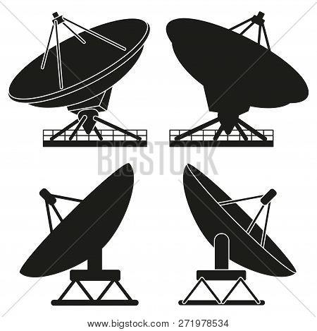 Black And White Satellite Antena Silhouette Set. Science Radar Equipment. Media Theme Vector Illustr