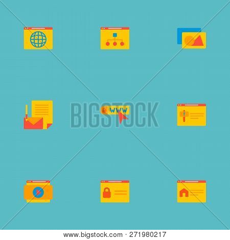 Set Of Website Development Icons Flat Style Symbols With Login Page, Branding, Domain Icons For Your