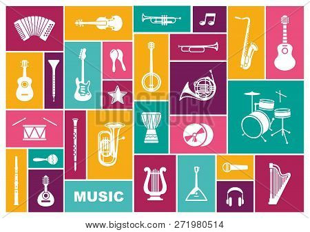 Silhouettes Of Musical Instruments. Icon Sen In Flat Style