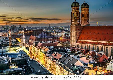 Munich City Center (marienplatz With Frauenkirche And Old Townhall)