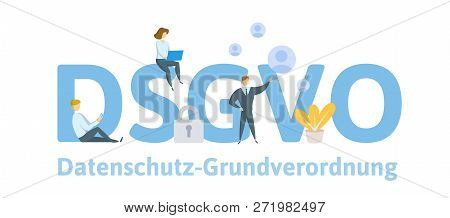 People Using Mobile Gadgets And Internet Devices Among Big Dsgvo Letters. Gdpr, Rgpd. Concept Vector