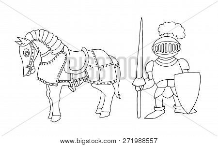 Coloring Page Of Cartoon Medieval Knight Prepering To Knight Tournament