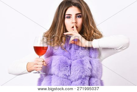 Girl Fashion Makeup Wear Fur Coat Hold Wine Glass. Alcohol And Cold Weather. Woman Enjoy Wine. Hedon