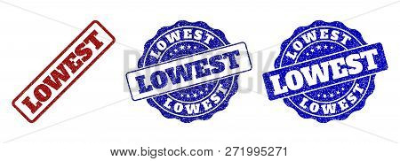 Lowest Grunge Stamp Seals In Red And Blue Colors. Vector Lowest Overlays With Grunge Style. Graphic
