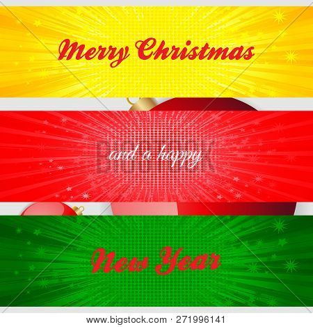 Merry Christmas And A Happy New Year Decorative Text Over Three Panels With Star Burst On White Back