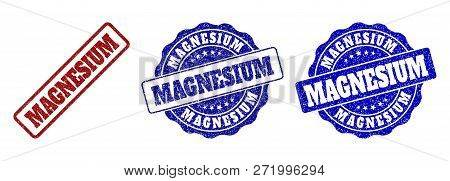 Magnesium Grunge Stamp Seals In Red And Blue Colors. Vector Magnesium Overlays With Grunge Texture.