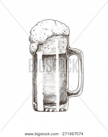 Beer Glass Brewery Monochrome Sketch Outline. Alcoholic Drinks Booze Hand Drawn Foamy Ale In Mug. Tr