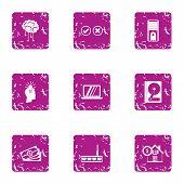Money circulation icons set. Grunge set of 9 money circulation icons for web isolated on white background poster