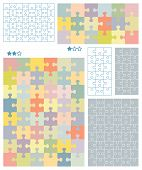 Jigsaw puzzle blank templates for 3x6 (18 pieces) and 6x8 (48 pieces) cuts with corresponding pastel colors patterns all pieces separattable poster