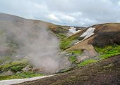 Landmannalaugar landscape: fascinating geological wonder, a geothermal oasis in the Highlands of Iceland, surrounded by colorful mountains and steaming lava fields poster