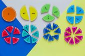 colorful math fractions on the bright backgrounds. interesting math for kids. Education, back to school concept. Geometry and mathematics materials. poster