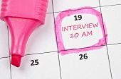 Calendar mark  with Interview poster