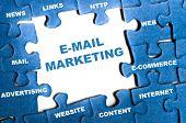 E-mail marketing blue puzzle pieces poster