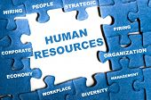 Human resource blue puzzle pieces assembled poster