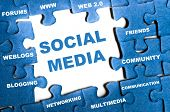 Social media blue puzzle pieces assembled poster