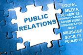 Public relations blue puzzle pieces assembled poster
