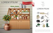 Realistic garden colorful composition with cupboard and shelves with flowerpots buckets trowel fruit tree red ginger work instruments tools vector illustration poster