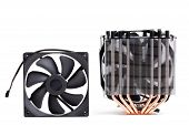 CPU Cooler with heat-pipes and ventilator fan for mew processors 9th generation isolated on white background poster