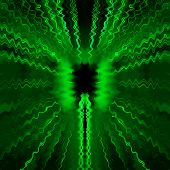 Computer generated illustration of green colored radio transmission waves poster