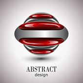 Abstract design, red glossy ellipses - vector. poster
