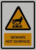 Beware hot surface on white isolated background signs poster