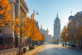 Cathedral Square Seen From Gediminas Avenue, The Main Street Of Vilnius, Lithuania