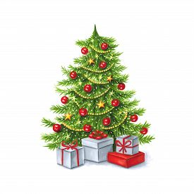 Christmas Tree Painted Markers On White Background. You Can Use For Greeting Cards, Posters And Desi