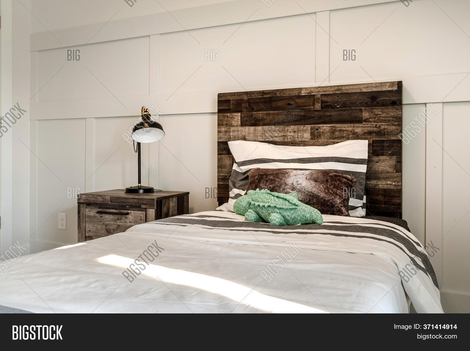 Single Bed Brown Image Photo Free Trial Bigstock