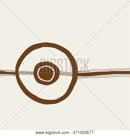 Hand Drawn Art With Circle And Jagged Lines, Minimalistic Nordic Style. Aesthetic Vector Illustratio