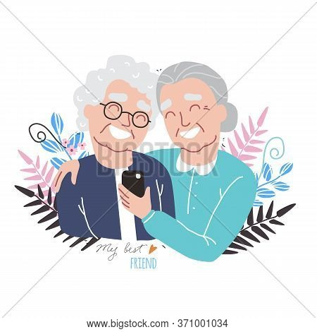 Portrait Of Smiling Old Womens. Happy Friends Holding Each Other. Happy Friendship Day. Old People W