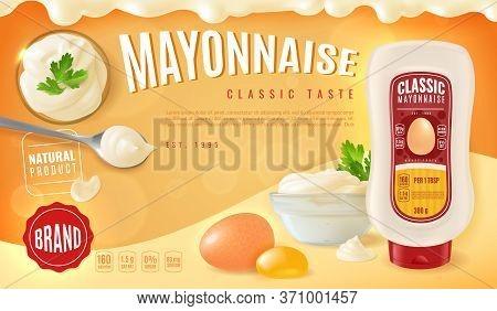 Realistic Mayonnaise Poster. Horizontal Advertising Poster With A Presentation Of Realistic Mayonnai