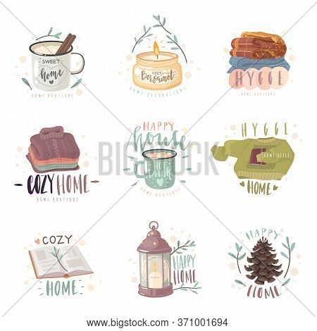 Hygge Cozy Emblems Set. A Set Of Emblems On The Theme Of Home Comfort. Cozy Items And Hygge Letterin