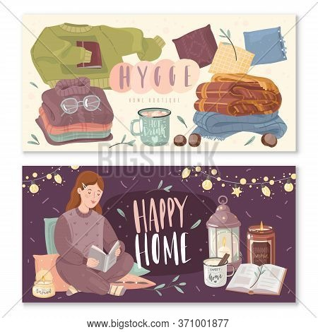 Hygge Cozy Horizontal Banners. A Set Of Two Horizontal Banners On The Theme Of Home Comfort. Cozy It