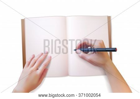 Notepad Hands Illustration. Realistic Hands Write In An Open Notepad. Vector Illustration On A White