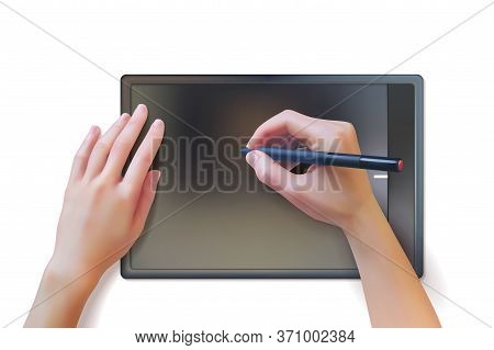 Graphic Tablet Hands Illustration. Realistic Hands Use A Graphic Tablet And Stylus. Vector Illustrat