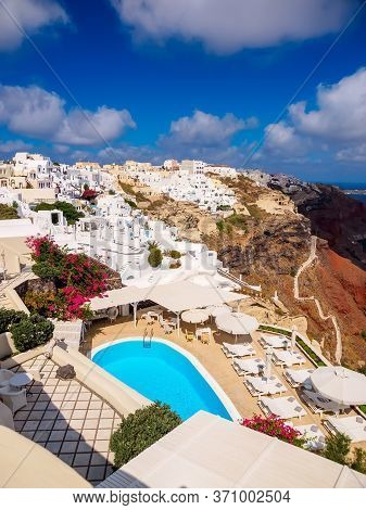 Amazing Santorini Island View. Beautiful White Cave Houses. Santorini, Cyclades, Greece