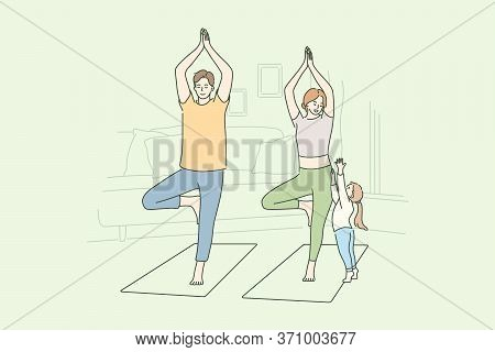 Family, Yoga, Sport, Recreation Concept. Man Dad And Woman Mom Do Morning Yoga Practice Exercise At