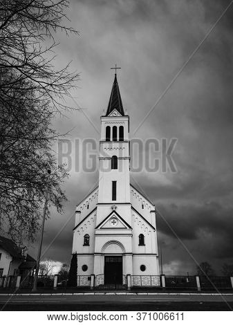 Religious Building, A Catholic Church Dedicated To The Holy Prophet Elijah With Ominous, Dark Storm