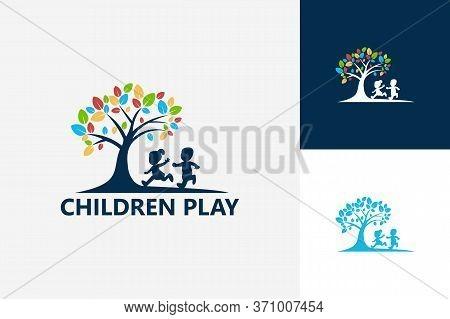 Children Play Logo Template Design Vector, Emblem, Design Concept, Creative Symbol, Icon