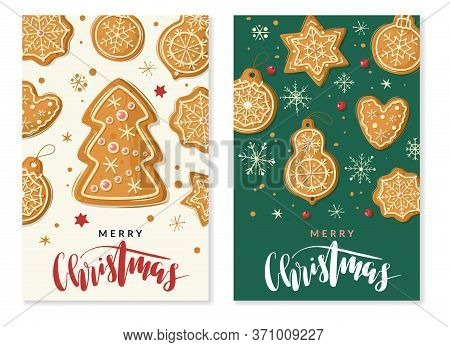 Christmas Gingerbread Cooking Vertical Banners. Christmas Ginger Cookies. Vector Vertical Banners Ca