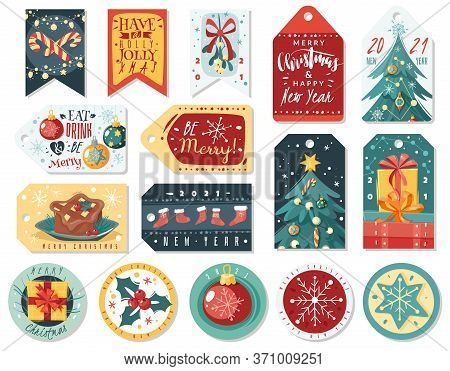 Christmas Cartoon Cards. Christmas And Happy New Year Cards. Cartoon Style, Hand Drawn Decorative El