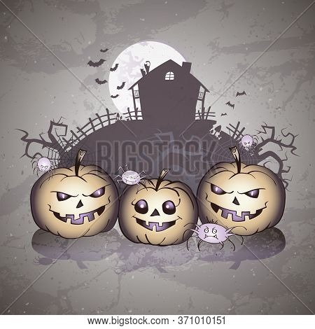 Vector Halloween Illustration With Smiling Pumpkins, Spiders And Abandoned House On Grunge Backgroun