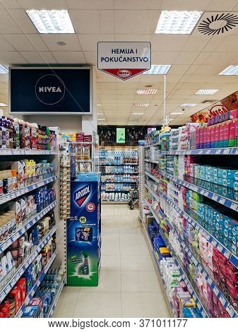 Budva, Montenegro - 05 June 2020: The Interior Of The Mega Supermarket, Shelves With Goods In The De