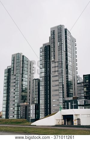 Multi-storey High-rise Apartment Buildings On The Waterfront In Reykjavik, The Capital Of Iceland. G